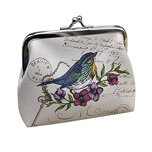 - Womens Wallet, Goreway Womens Vintage Flower Mini Wallet Coin Purse Clutch Handbag (White, 12x10cm)