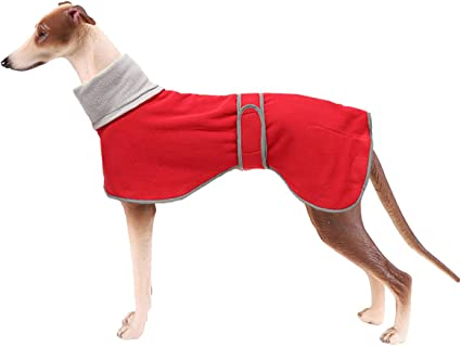 Large Dog -Red-XXXL Dog Winter Coat with Warm Fleece Lining Greyhound Cosy Fleece Jumper Outdoor Dog Apparel with Adjustable Bands For Medium