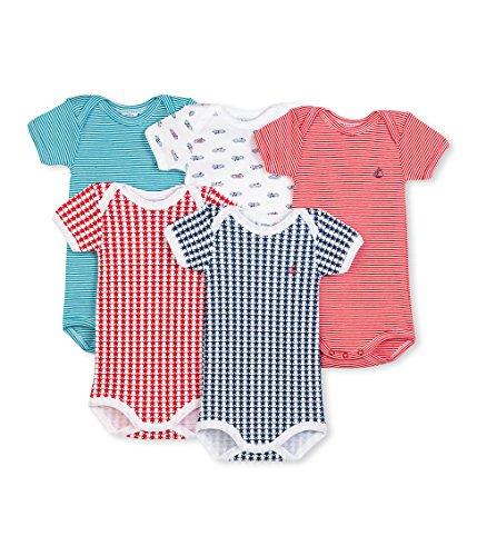 Petit Bateau Boys 5 Pack Short Sleeve Printed Bodysuits in Gift Box, Multi, 18 Months