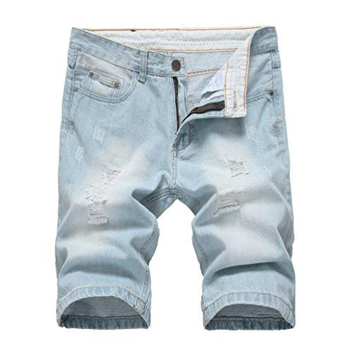 Patchato Pantaloncini Photo Jeans Pantaloni Corti Stile Yiiquan As Strappati Spiaggia Elasticizzati Distrutto Uomo Da 6W68ZOYv