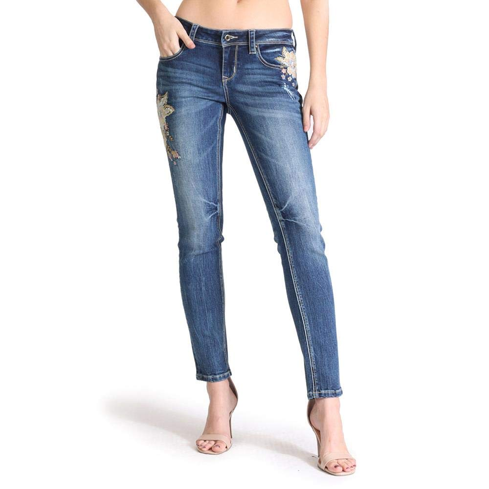 Grace in LA Women's Junior Fit Floral Embroidery Skinny Jeans   JNW51315 bluee