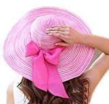 LOVEHATS Women Outdoor Large Beach Straw Hat With Bowtie Fashion Summer Hats Woman's Sun Caps Pink