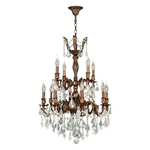 Versailles Crystal Twelve Light - Worldwide Lighting Versailles Collection 12 Light French Gold Finish and Clear Crystal Chandelier 24
