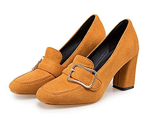 Aisun, Donna, Cinturino Con Fibbia, Slip On Tee Dress Vintage, Grosso Tacco Alto, Pumps, Scarpe Kaki
