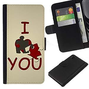 Ihec-Tech / Flip PU Cuero Cover Case para Sony Xperia Z4 - I love you Cute