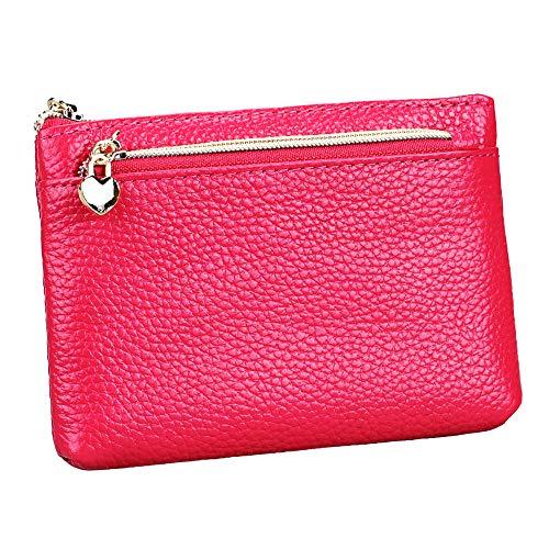 (Women's Genuine Leather Coin Purse Zipper Pocket Size Pouch Change Wallet, Rose)