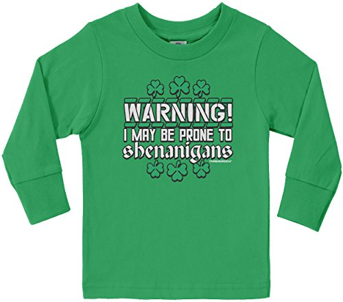 St Patricks T Shirt (Threadrock Little Boys' May Be Prone to Shenanigans Toddler Long Sleeve T-Shirt 2T Kelly Green)