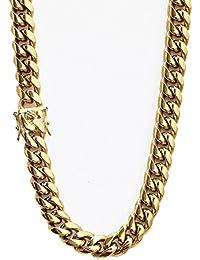Tripod Heavy Thick Men's Miami Cuban Link Chain- 14K Gold...