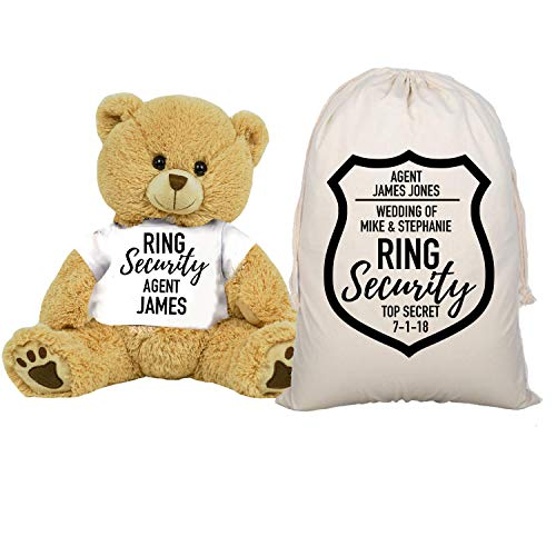 (PaperGala Ring Security Teddy Bear and Gift Bag 8 or 16 inch Tan Plush Gift for Wedding Party Add Your Custom Name Wedding Thank You Message Proposal (Large 16