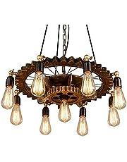 CNCDRS 9-verlichting retro industriële kroonluchter hout smeedijzeer tandwiel hanglamp armatuur persoonlijkheid creatief restaurant cafe bar hotel decor eilanden barn droplight lantaarn E27 Edison