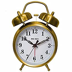 Retro Home Westclox Twin Bell Alarm Clock 70010G Vintage Design Decor Gold color