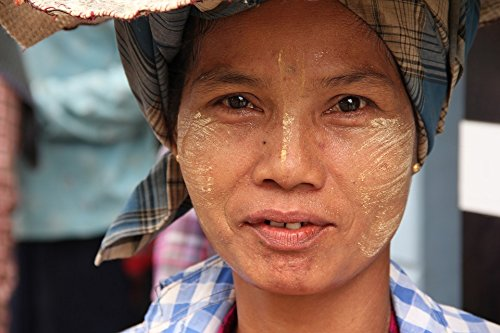 (Home Comforts Acrylic Face Mounted Prints Portrait Myanmar Woman Burma Tanaka Print 20 x 16. Worry Free Wall Installation - Shadow Mount is Included.)