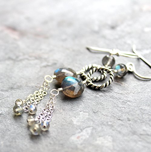 - Labradorite Coin Earrings Gray Gemstone Long Dangles Sterling Silver Twisted Rope Circles