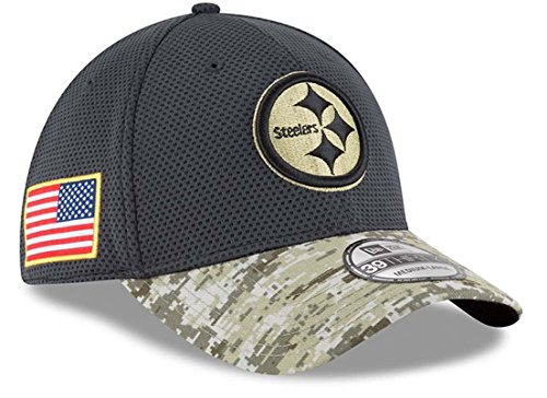 New Era 39Thirty Hat Pittsburgh Steelers NFL On-field Salute to Service Flex Cap (Medium/ Large)