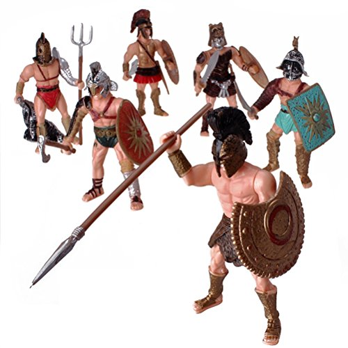 HAPTIME 6 Pcs Roman Gladiator Playsets Toy with Weapons and Shield, Ancient Rome Soldier Action Figures, Spartan Warrior