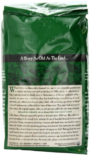 Cafe Altura Whole Bean Organic Coffee, Sumatran Dark Roast, 2 Pound