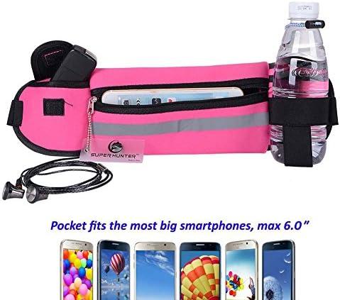 Flip Running Belt Adjustable, Fashion Fanny Pack with Bottle Holder, Water Resistant Reflective Zipper Waist Pack for Runners, Race, Marathon, Hiking – Men and Women