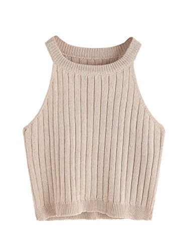 (SweatyRocks Women's Knit Crop Top Ribbed Sleeveless Halter Neck Vest Tank Top (Small, Apricot))