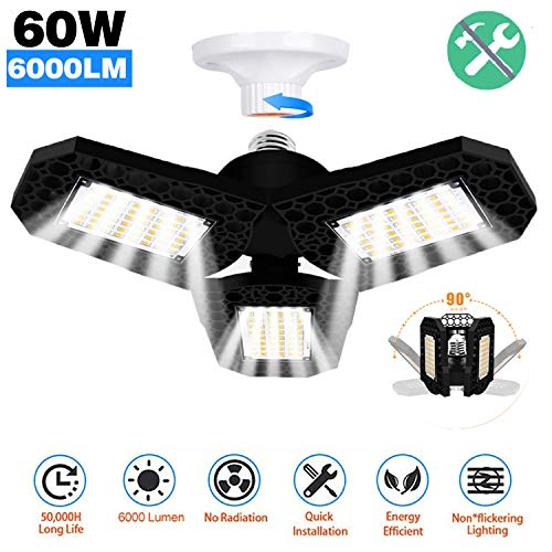 Gyrategirl LED Garage Lights, 60W Deformable Triple Glow Garage Lighting with 3 Adjustable LED Panels 270°, Ceiling Light 6000LM E26 Shop Lightsfor Garage Warehouse Basement Workshop Outdoor and Yard