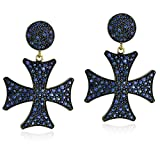 14K Gold & Sterling Silver Natural Blue Sapphire Cross Dangle Earrings