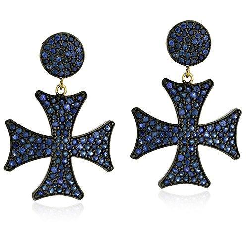 (14K Gold & Sterling Silver Natural Blue Sapphire Cross Dangle Earrings For Women)