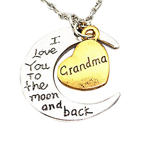 (Gbell Kids Silver Moon Heart Necklace - ' I Love You To The Moon' Engraved Necklace Charm for Boys Girls Men Women Gifts - Son Mom Aunt Sister Daughter Dad Brother Grandma Necklaces Jewelry (Grandma))