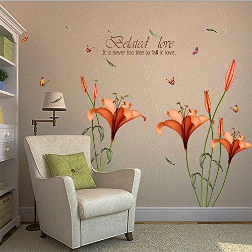 Kimloog 3D Lily Flowers Removable Vinyl Sticker Home Decor - Wall Mural Peel Stick ()