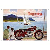 Tin Sign Motorcycle Bike Poster Metal Plate Wall Decor by Jake Box 20*30cm of Triumph RMC 50 Motorcycles Coastal Village
