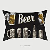 Custom Satin Pillowcase Protector Two Hands Holding Beer Glasses Mug Glass Can Bottle Vintage Vector Engraving Illustration For 419126110 Pillow Case Covers Decorative