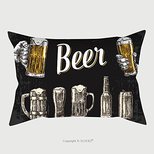 Custom Satin Pillowcase Protector Two Hands Holding Beer Glasses Mug Glass Can Bottle Vintage Vector Engraving Illustration For 419126110 Pillow Case Covers Decorative by chaoran