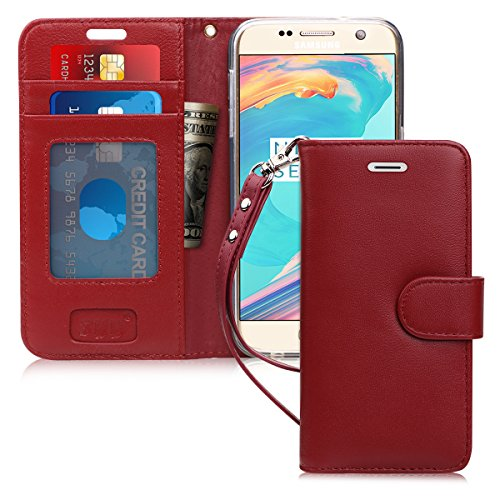 - FYY Case for Galaxy S7, [Top-Notch Series] Premium Genuine Leather Wallet Case Protective Cover for Samsung Galaxy S7 Wine Red