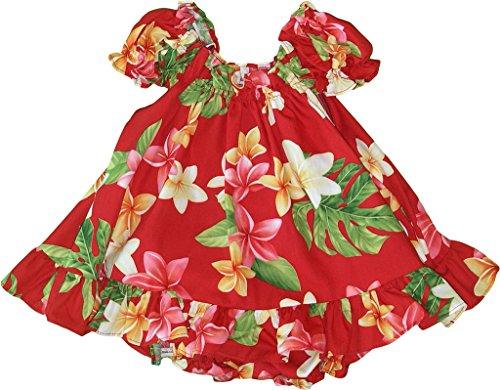 RJC Baby Girls Plumeria Sunshine Puff Sleeve Hawaiian 2 Piece Dress Set