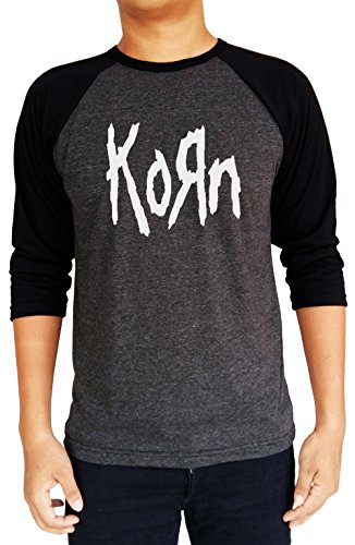 Korn Metal Band Logo Baseball Tee Raglan 3/4 Sleeve T Shirt Medium Heather Charcoal/Black (Metal Band T-shirt)