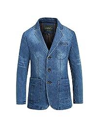 HEMAY Men's Vintage Notched Lapel Denim Blazer Suit Button Down Jeans Jacket