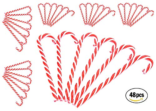 Candy Cane Decorations 48 CT Christmas Candy Decorations Plastic Candy Canes, 6 inches