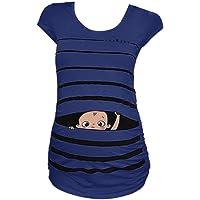 Daringjourney Cuello Redondo Mujer Embarazada Camisa Estampada Rayas graciosas Lindas de bebé Camiseta de Manga Corta de Maternidad Camisa Suelta de premamá