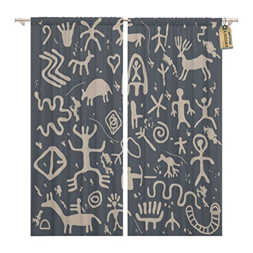 Golee Window Curtain Cave Ancient Petroglyphs Drawing Indian Pattern Symbol African American Home Decor Rod Pocket Drapes 2 Panels Curtain 104 x 63 inches