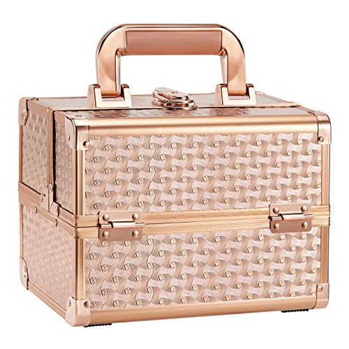 Joligrace Beauty Makeup Train Case for Lady Portable Cosmetic Box Jewelry Organizer Lockable with Keys and Mirror 2-Tier Trays Carrying with Handle Makeup Storage Box - Rose Gold