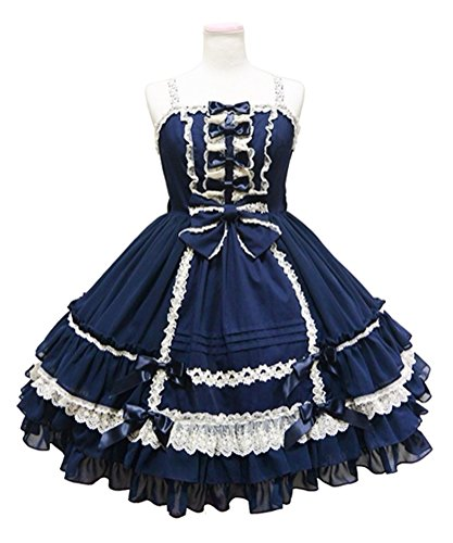 Court Maid Costumes (Nuoqi Customized Retro Sweet Lolita Court Ball Costumes Lace Bow Braces Skirt Dress Navy Blue)