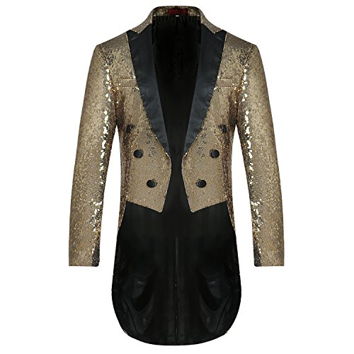 4509bb50 Cloudstyle Mens Tails Slim Fit Tailcoat Sequin Dress Coat Swallowtail  Dinner Party Wedding Blazer Suit Jacket