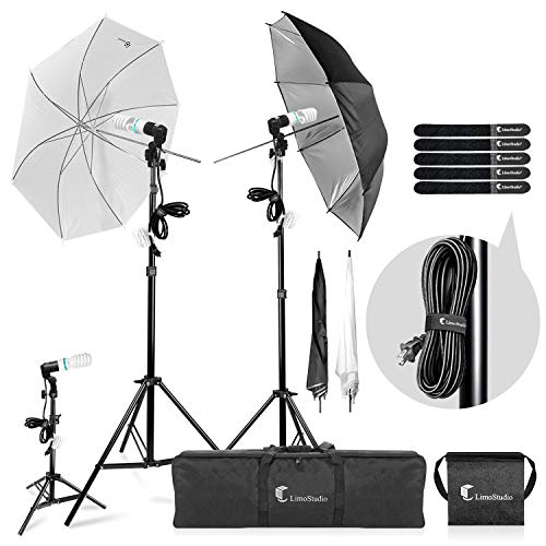 LimoStudio Photography Video Portrait Studio Daylight Umbrella Continuous Lighting Kit with Energy Saving Bulb, Velcro cable ties, Photo Studio, AGG2332