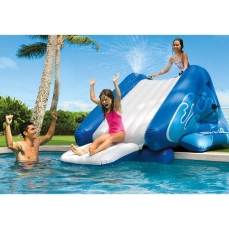 (NEW Inflatable Water Slide Play Center with Sprayer, 131 x 81 x 46)