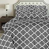Utopia Bedding 3pc Microfiber Duvet Cover Set (Queen, Printed Grey)