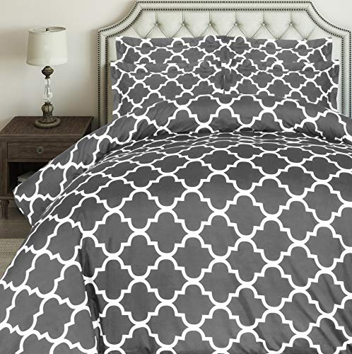 Utopia Bedding 3pc Microfiber Duvet Cover Set (Queen, Printed Grey)