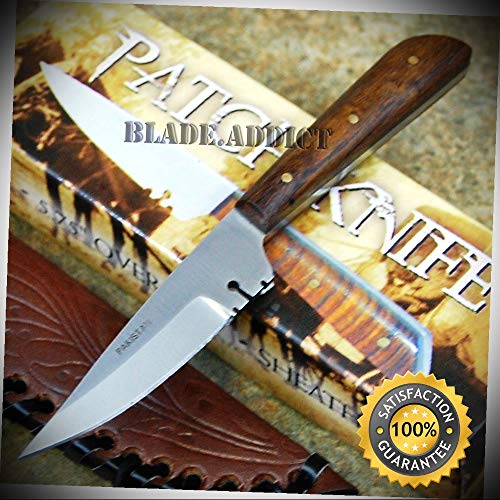 (Full Tang Western Style Skinner Fixed Blade Trade Patch Knife with Leather Sheath - Outdoor For Camping Hunting)