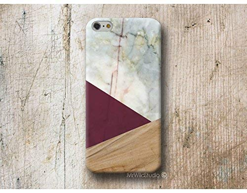 Funda Madera Mármol Geométrica Granate para iPhone 4 5 5s SE 6 6s 7 Plus Samsung Galaxy s8 s7 s6 s5 A5 A3 J5... Huawei LG Moto Oneplus Sony HTC ....