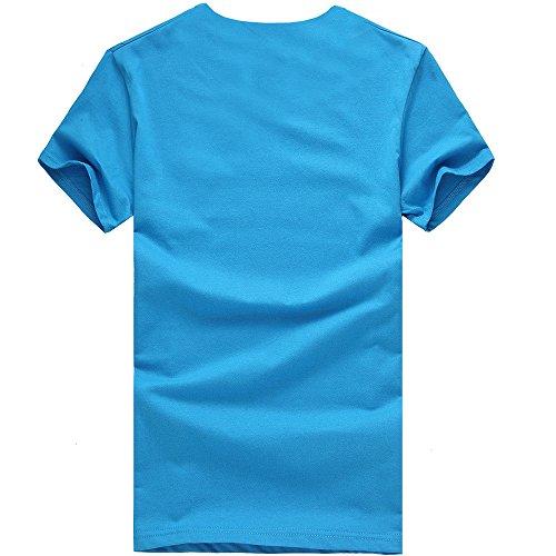 Sportivi Estiva Elegante Stretch Blu Camicia Vintage Casual Corte Particolari Cotone Corta Uomo Maglietta Maglione Magliette T Tumblr Homebaby® Stampa shirt Manica EaqvE