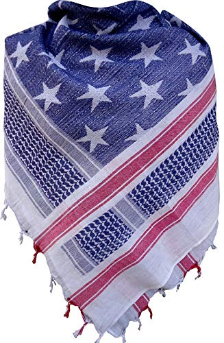Acme Approved 100% Cotton Military Shemagh Tactical Desert Keffiyeh Head Neck Scarf Arab Wrap For Men and Women (Flag)