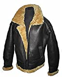 Men's Brown Flying B3 Real Shearling Ginger Sheepskin Leather Bomber Jacket (L)