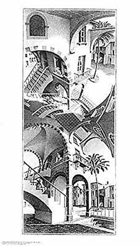 High and Low M. C. Escher Fantasy Poster Print 17.75x31.25 - Escher Check